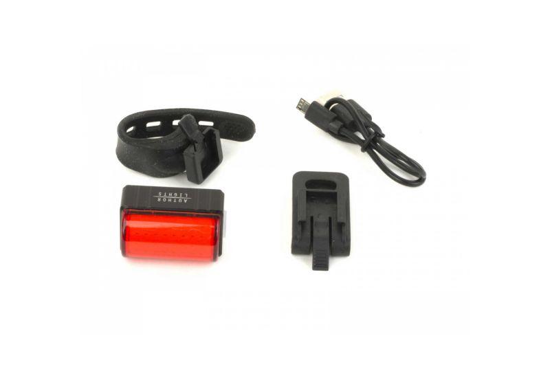 Světlo zad. Author A-Square USB CobLed 100 lm - černá/červené-sklo - 4