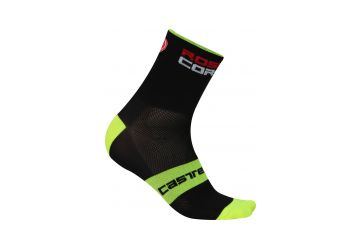 Castelli RossoCorsa 9 Socks , Black/yellow fluo - 1