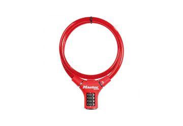Zámek MasterLock kabelový zámek 90cm x 12mm, kód, nylonový potah – červený (8229) - 1